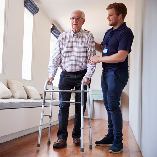 Senior with Care Worker