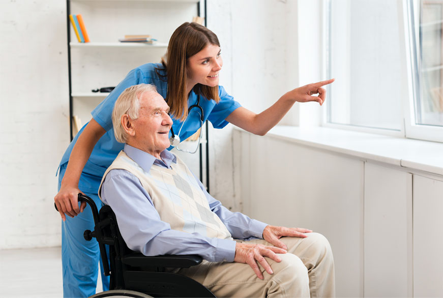 picture of woman providing senior home care and looking out window